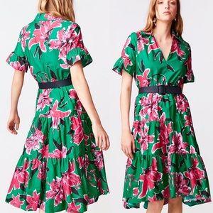 ZARA Floral Midi Dress with Belt